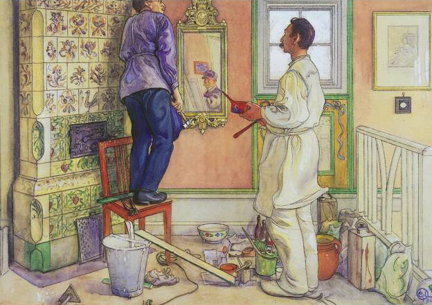 """My Friends, The Carpenter & The Painter"" by Carl Larsson (1853-1919) Swedish Painter & Interior Designer"