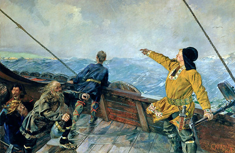 """Leif Erikson Discovers America"" by Christian Krohg (1852–1925) Norwegian Naturalist Painter"