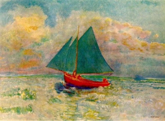 """Red Boat with Blue Sails"" by Odilon Redon (1840-1916) French Symbolist Painter & Printmaker"