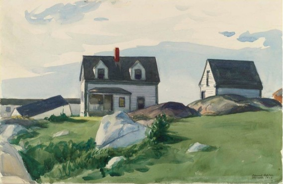 """Houses of Squam Light, Gloucester"" by Edward Hopper (1882-1967) American Realist Painter & Printmaker"